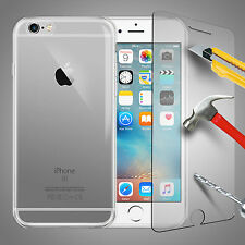 For iPhone 6 7 Plus Thin Clear Gel Case Cover & Tempered Glass Screen Protector