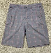 "Lululemon Commission 10"" Mens Shorts-Gray/Salmon-Tagless (33x10)"