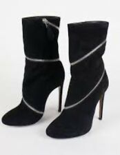 NEW Azzedine Alaia Black Suede Spiral Zipper Ankle Boots 39.5 (9.5)