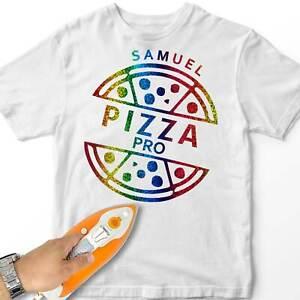 Personalised Men Iron-On T-Shirt Transfer Pizza Pro Custom Name Friends