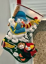 "FINISHED Bucilla ""BASEBALL SNOWMAN"" Christmas Stocking * Fully Lined * 18"""