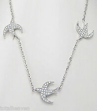 """20"""" Solid Sterling Silver Sparkling CZ 3 Flying Free Birds Necklace"""