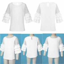 Girls Stylish Top Solid Color One Button in Back Round Neckline Casual Clothes