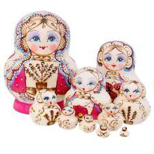 10pcs Russian Hand Painted Stacking Doll Fuchsia Matryoshka Nesting Dolls
