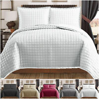 Quilted Cotton Like Comforter Bedspread Bedding Set & Pillow Shams Double & King