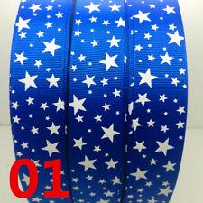 "NEW 5yards 1""(25mm) Printed Stars Grosgrain Ribbon Wedding Hair Bow DIY Sewing"