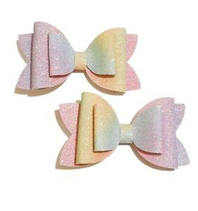 Handmade 3.5 inch hair bow clip set easter accessories glitter