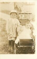Victorian Big Brother~Striped Suit~Short Pants~Baby~Vintage Carriage~1910 RPPC