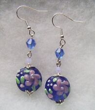 Flowers Lampwork Glass Earrings Cobalt And Lilac Wild