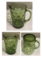 VINTAGE Green Glass Pitcher 64 oz. DOTS Pattern