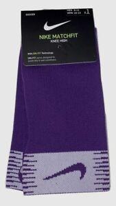 Nike Matchfit Dri-Fit One Pair Mens Soccer Socks Purple & White SIZE 8-12