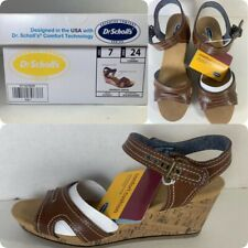 Dr Scholls Advanced Comfort Womens Brown Ankle Strap OpenToe Wedge Sandal Sz 7