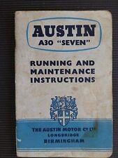 """Austin """" A30 'SEVEN ' """" Original 1956 RUNNING and MAINTENANCE INSTRUCTIONS"""