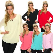 Lockre Sitzende Damenblusen,-Tops & -Shirts mit Langarm-Ärmelart ohne Muster für Party