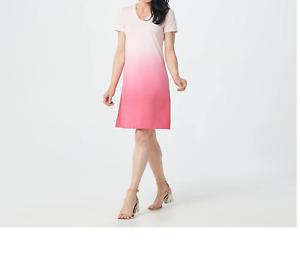 XL Isaac Mizrahi Live! Pink Ombre V Neck T Shirt Dress