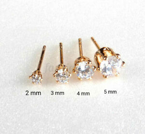 TINY TRAINER STUD EARRINGS Adults Kids 18K Gold Plated Cubic Zirconia 2 - 5mm UK