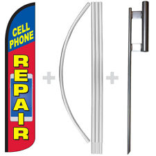 Cell Phone Repair 15 Tall Windless Swooper Feather Banner Flag Amp Pole Kit