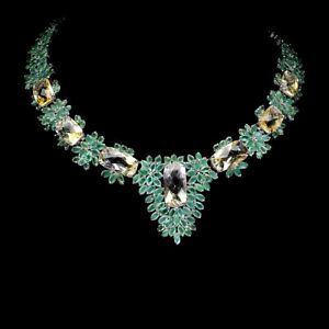 Unheated Antique Citrine 20x10mm Emerald 925 Sterling Silver Necklace 17.5 Ins
