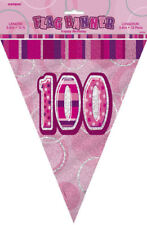 100th Pink Glitz Bunting - 12ft Long - Plastic Party Pennants Flag Banner