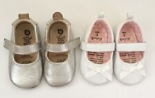 BUNDLE x 2 OLD SOLES leather silver white mary jane girls toddler shoes 19 2