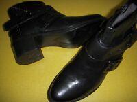 Miz Mooz Faithful Studded Leather Ankle Boots Women's EUR 38 / 7.5-8 M Black ~