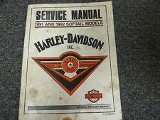 1991 1992 Harley Davidson Softail Fat Boy Motorcycle Shop Service Repair Manual