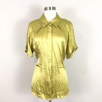 Pendleton womens 16 100% Silk Satin Blouse Top Gold Yellow Green Short Sleeve
