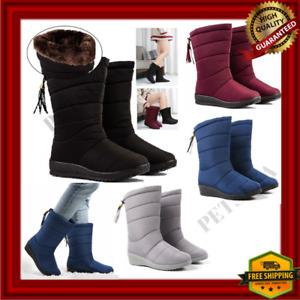 Botas De Mujer Para Invierno Zapatos De Nieve Impermeables Cálidas Botines Moda-