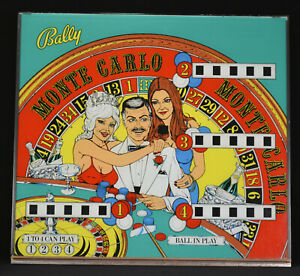 Bally Arcade Pinball Machine Monte Carlo Back Glass Man Cave