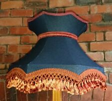 Lampshade for standard lamp or ceiling in dark blue denim with copper lining