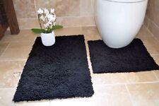 SUPERB Luxurious 100 Cotton Black Fluffy Bath Mat Pedestal Set