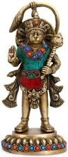 Lord Hanuman Standing Brass Statue with Stone work Idol Figurine Showpiece 9""