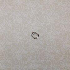 BonEful Fabric Cotton Quilt VTG Tan White Small Little Swirl Scroll Calico SCRAP