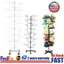 7 Tier Metal Hat Rack Hanger Wigs Display Stand Cap Rotating Stander W/ 4 Wheel