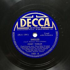 78obrotów Pinky Tomlin - Smiles / The Old Oaken Bucket Decca 1821