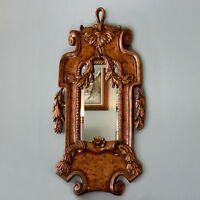 """Vtg 47"""" x 23"""" Gilt Gold Plastic/Resin Burl Wood Veneer Beveled Glass Wall Mirror"""