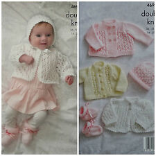 Knitting Pattern Bambino Lacy Cardigan Cappotto Bootees & COFANO DK King Cole 4690