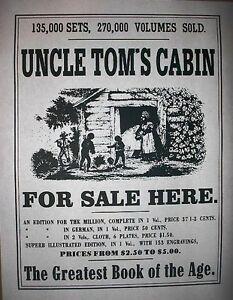 "(271L) SLAVERY UNCLE TOMS CABIN PROMOTIONAL OLD WEST REPRINT BROADSIDE 11""x14"""