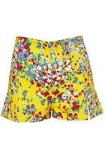 Topshop Amarillo con Estampado Floral Dixie Shorts Pantalones Cortos Pantalones Reino Unido 8 10 36 38 4 6 BNWT