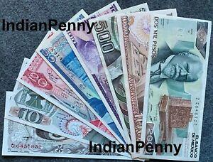 LOT 8 MEXICO PESO BANKNOTES SERIES 5,10,20,50,100,500,1000,2000 MEXICO BILLS UNC
