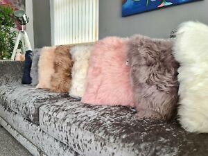 Genuine Sheepskin Cushion 40cm Various Colours Plush Long Wool Luxury Furnishing