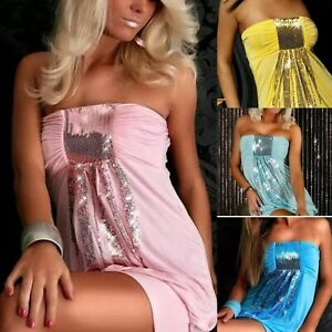 STRAPLESS MINI DRESS / TUNIC / COVER-UP SEQUIN DETAIL _ XS-M