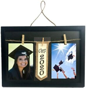 Class of 2020 Frame with Clothespin Clips for Two 4 x 6 inch Collage Photo Black
