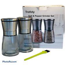 Trofoty Salt and Pepper Grinder Set, Stainless Steel Adjustable 6 Oz Each