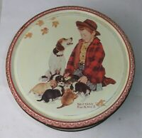 Vintage 1985 NORMAN ROCKWELL Boy & Dog Advertising Biscuit Cookies Tin Empty