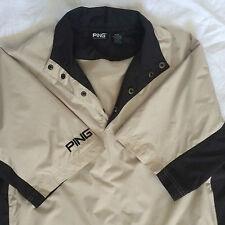 Ping Collection Mens Golf Windbreaker Jacket Medium Beige Black Short Sleeve