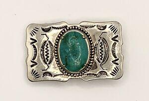 "Small 2"" Vintage Western Nickel Silver Turquoise Belt Buckle"