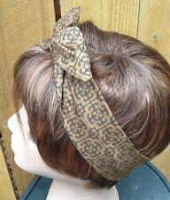 Wire Headband Dolly Bow Rich Brown Print Rockabilly Hair Scarf Rabbit Ears