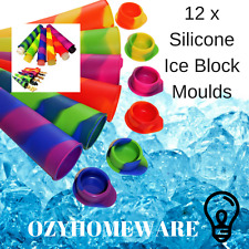 12x Silicone Ice Block Moulds Ice Cream Molds Icy Pole Jelly Pop Popsicle Maker