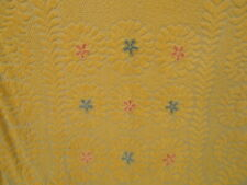 New listing Vtg Chenille Bedspread Coverlet 94X98 Yellow Cottage Rose Colored Flower Fringe